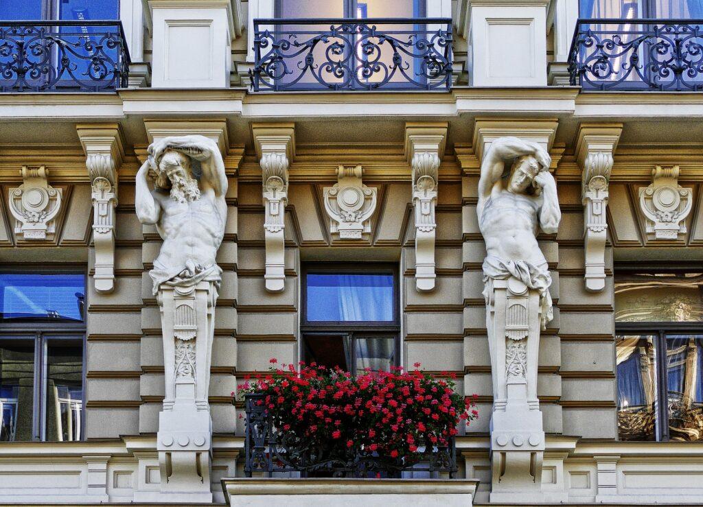 Art Nouveau in het centrum van Riga