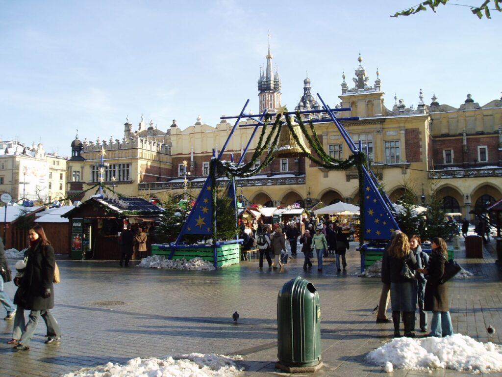 Poort naar kerstmarkt Krakau