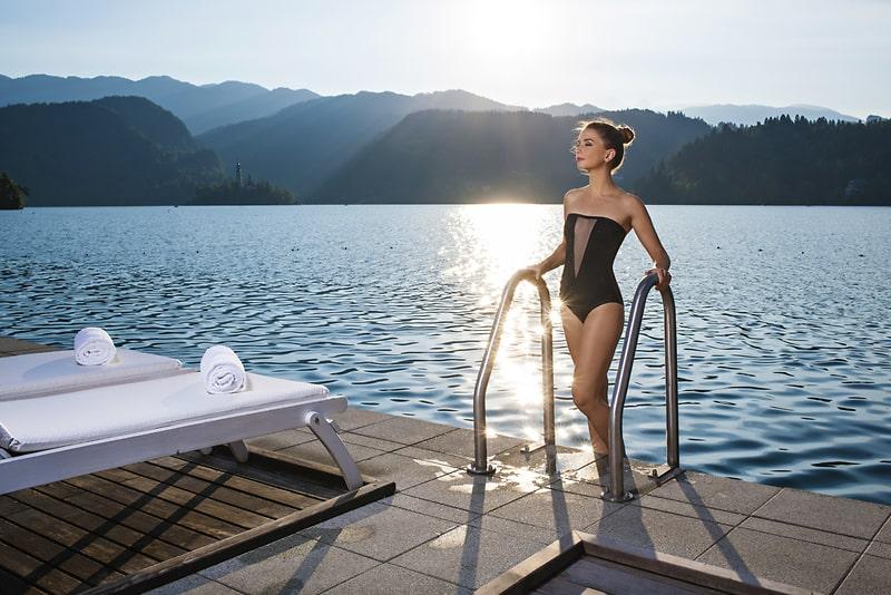 Zwemmen in het meer van Bled